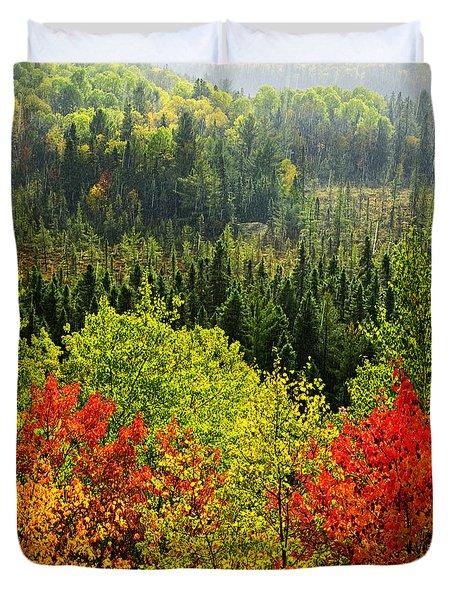 Fall Forest Rain Storm Duvet Cover