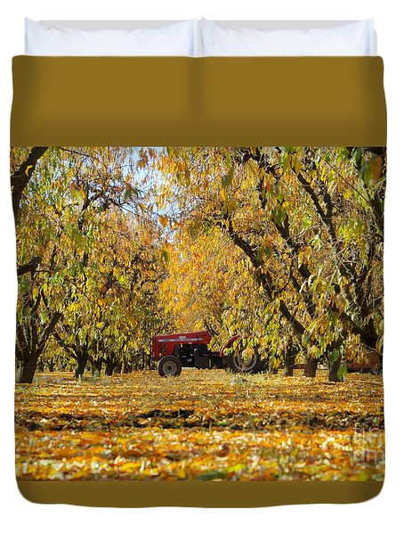 Fall In The Peach Orchard Duvet Cover by Jim And Emily Bush
