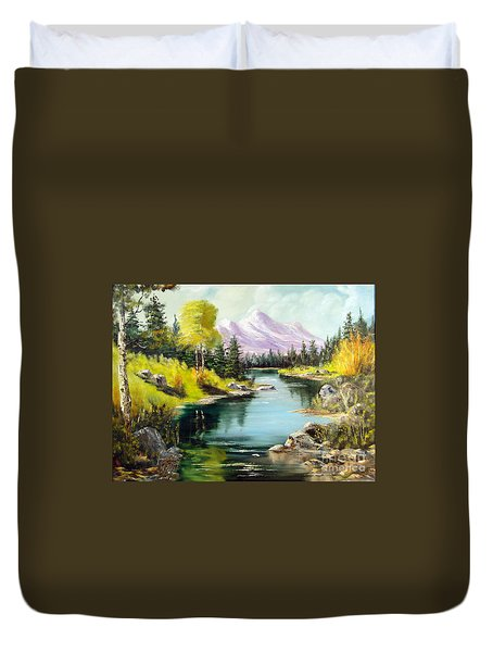 Fall In The Rockies Duvet Cover by Lee Piper