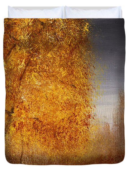 Fall Lake Reflections Duvet Cover by Gray  Artus