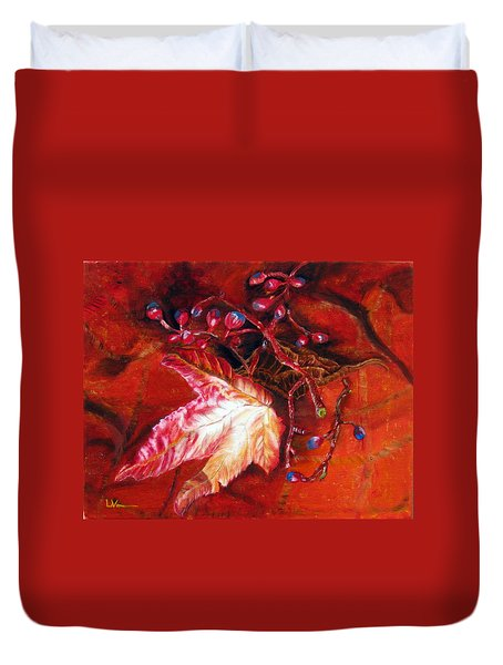Fall Leaf And Berries Duvet Cover