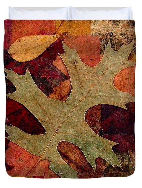 Duvet Cover featuring the mixed media Fall Leaf Collage by Anna Ruzsan
