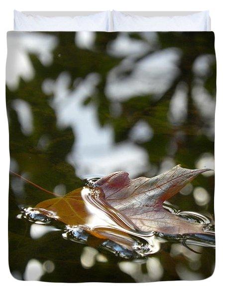 Fall Leaf In Stream Duvet Cover by Sheri Lauren Schmidt