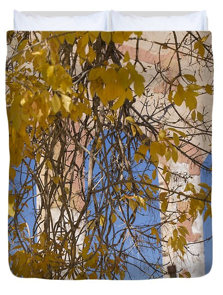 Fall Leaves On Open Windows Jerome Duvet Cover by Scott Campbell