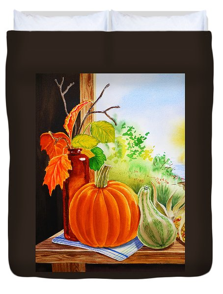 Duvet Cover featuring the painting Fall Leaves Pumpkin Gourd by Irina Sztukowski