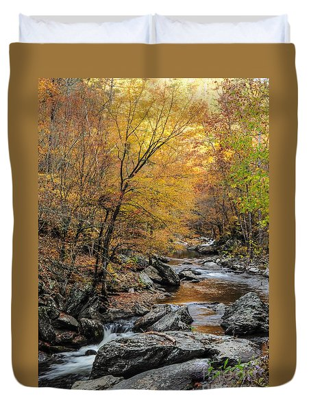 Duvet Cover featuring the photograph Fall Mountain Stream by Debbie Green