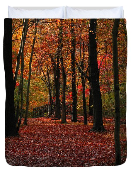 Duvet Cover featuring the photograph Fall Path by Raymond Salani III