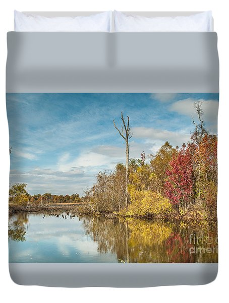 Duvet Cover featuring the photograph Fall Pond by Debbie Green