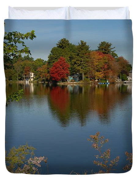 Duvet Cover featuring the photograph Fall Reflection by Caroline Stella