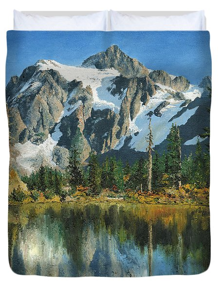 Duvet Cover featuring the painting Fall Reflections - Cascade Mountains by Mary Ellen Anderson
