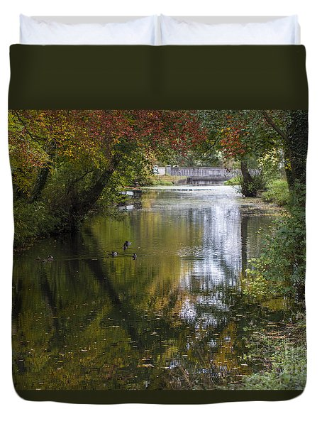 Duvet Cover featuring the photograph Fall Reflections. by Clare Bambers