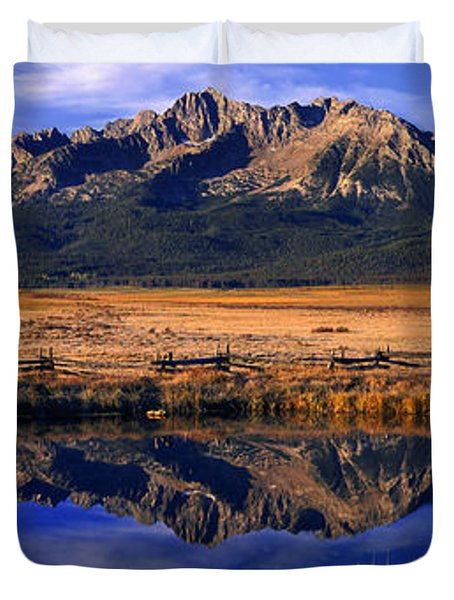Duvet Cover featuring the photograph Fall Reflections Sawtooth Mountains Idaho by Dave Welling