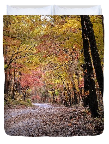 Fall Road Duvet Cover by Marty Koch