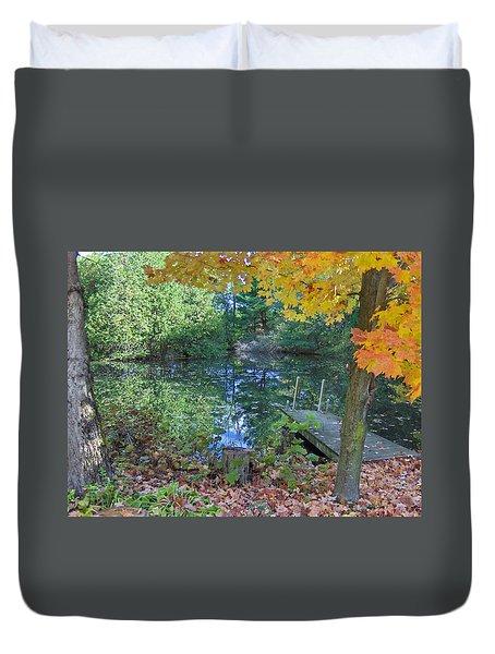 Fall Scene By Pond Duvet Cover by Brenda Brown