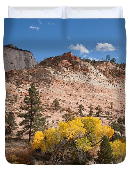Duvet Cover featuring the photograph Fall Season At Zion National Park by John M Bailey