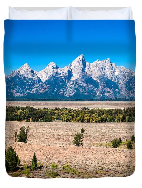 Duvet Cover featuring the photograph Fall Tetons   by Lars Lentz