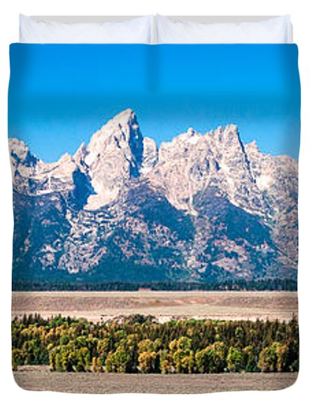 Duvet Cover featuring the photograph Fall Tetons Panorama   by Lars Lentz