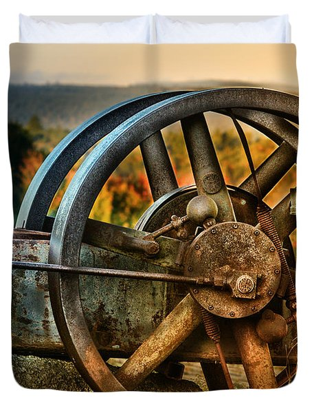 Fall Through The Wheels Duvet Cover by Susan Capuano
