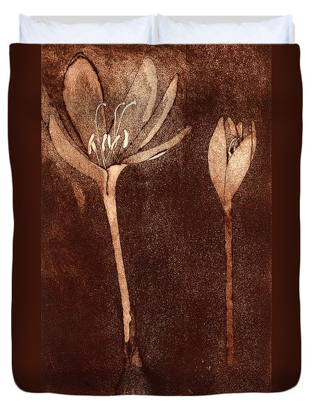 Fall Time - Autumn Crocus Meadow Safran Duvet Cover