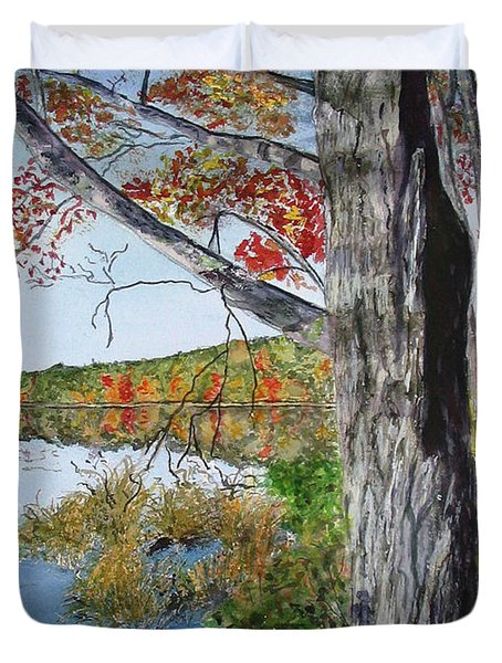 Duvet Cover featuring the painting Fall Tree by Carol Flagg