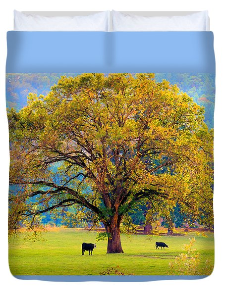 Fall Tree With Two Cows Duvet Cover