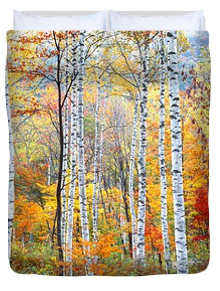 Fall Trees, Shinhodaka, Gifu, Japan Duvet Cover by Panoramic Images