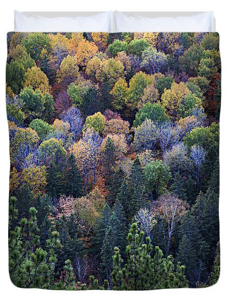 Fall Treetops At Lookout Duvet Cover