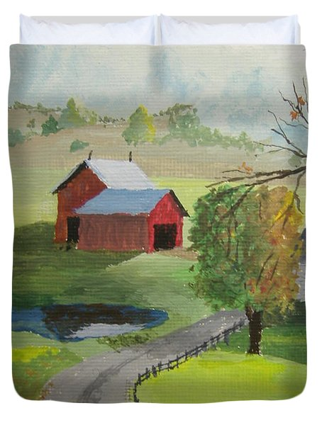 Duvet Cover featuring the painting Fall Walk by Norm Starks