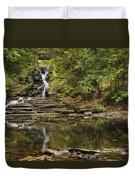 Fall Waterfall Creek Reflection Duvet Cover by Christina Rollo