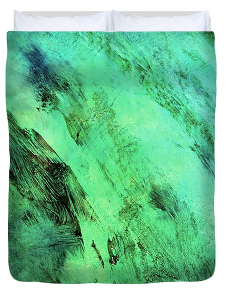 Duvet Cover featuring the mixed media Fallen by Ally  White