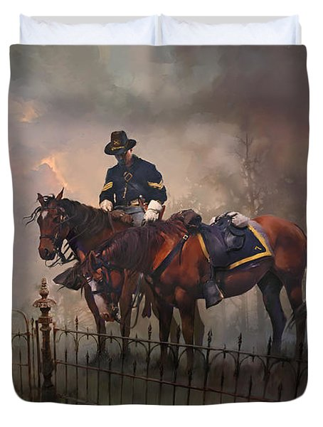 Duvet Cover featuring the painting Fallen Comrade by Rob Corsetti