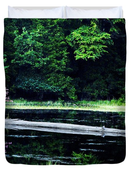 Fallen Log In A Lake Duvet Cover by Bill Cannon