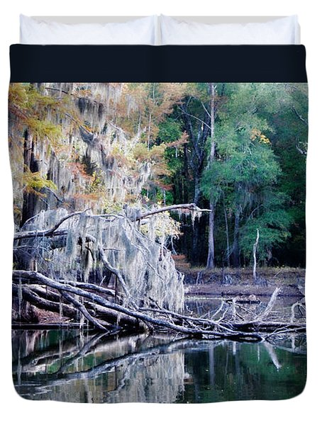 Duvet Cover featuring the photograph Fallen Reflection by Lana Trussell