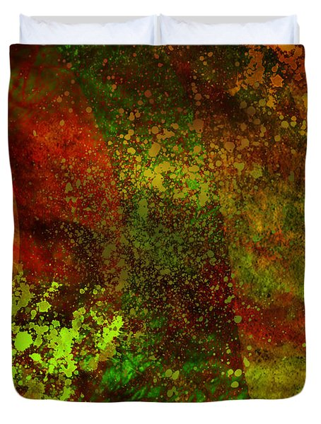 Duvet Cover featuring the mixed media Fallen Seasons by Ally  White