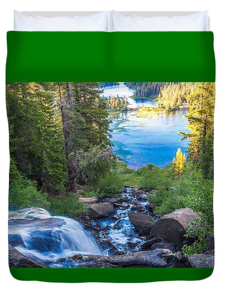 Falling Down To The Lakes Duvet Cover