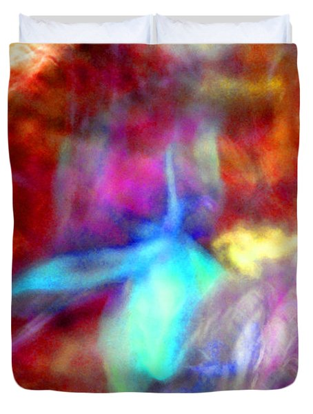 Falling Petal Abstract Red Magenta And Blue B Duvet Cover