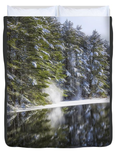 Falling Snow Duvet Cover by Karol Livote