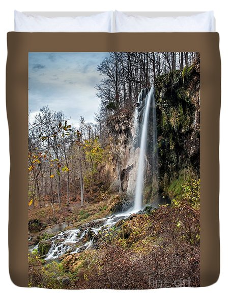 Falling Springs Fall Duvet Cover by Debbie Green