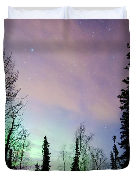 Falling Star And Aurora Duvet Cover by Ron Day