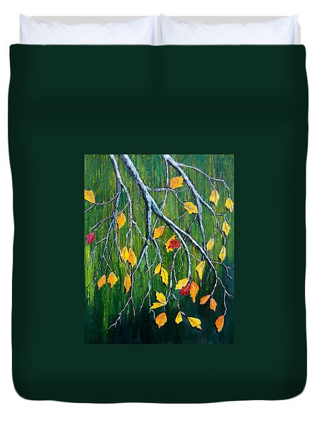 Duvet Cover featuring the painting Falling by Suzanne Theis