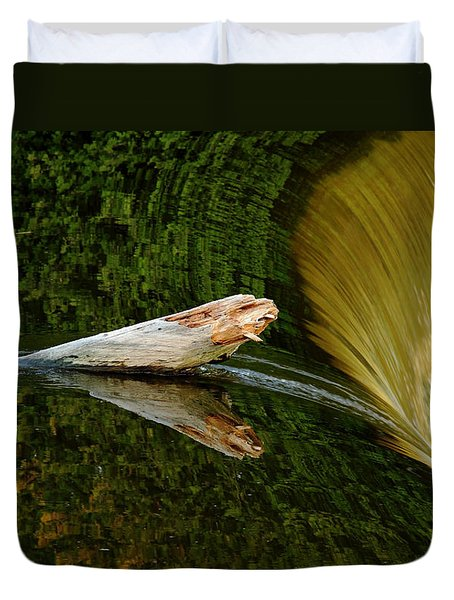 Duvet Cover featuring the photograph Falling Tree Reflections by Debbie Oppermann