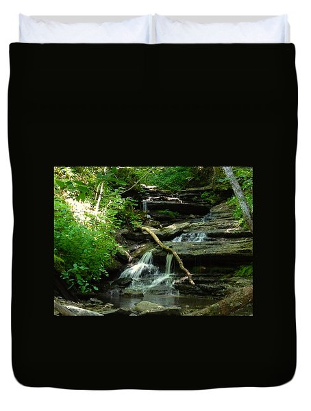 Duvet Cover featuring the photograph Falling Water by Alan Lakin