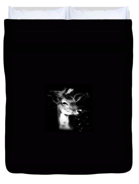 Deer Portrait Black And White Duvet Cover