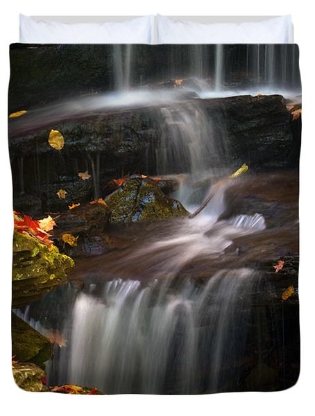 Falls And Fall Leaves Duvet Cover