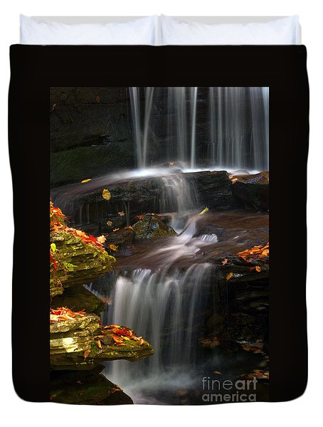 Falls And Fall Leaves Duvet Cover by Paul W Faust -  Impressions of Light