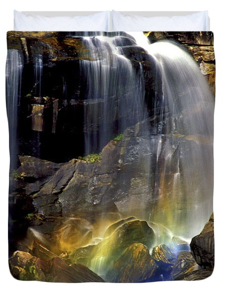 Falls And Rainbow Duvet Cover