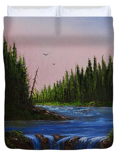 Falls At Rivers Bend Duvet Cover by C Steele