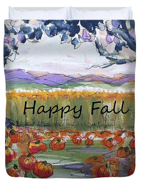 Happy Fall Greeting Card  Duvet Cover