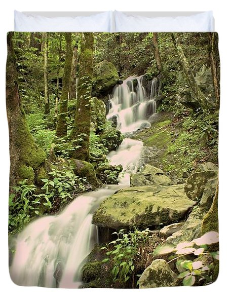 Falls In The Smokies Duvet Cover by Marty Koch