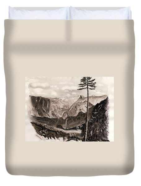Falls Of The Yosemite Painting Duvet Cover by Warren Thompson
